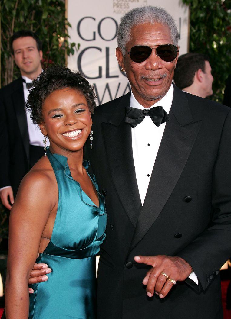 E'Dena Hines en Morgen Freeman op de Golden Globe Awards in januari dit jaar.
