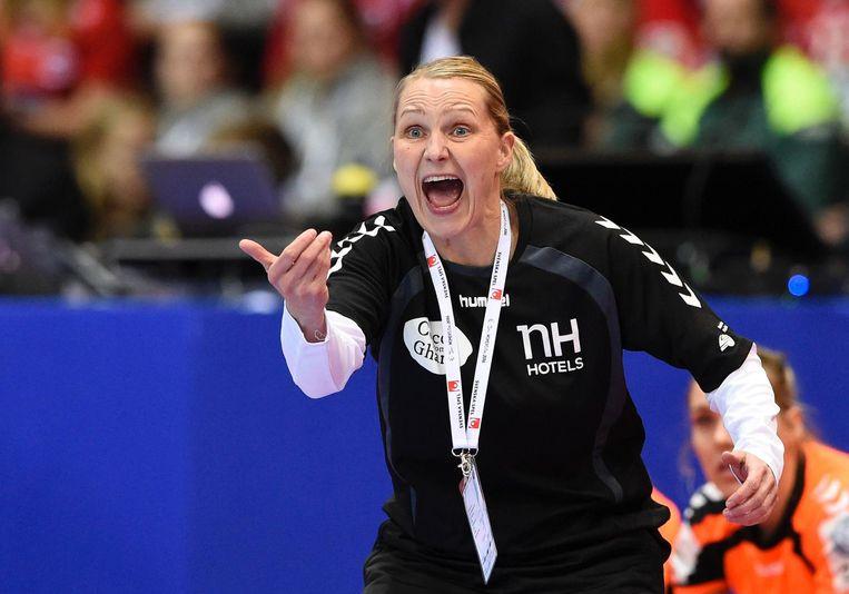 Helle Thomsen tijdens de finale tegen Noorwegen. Beeld null