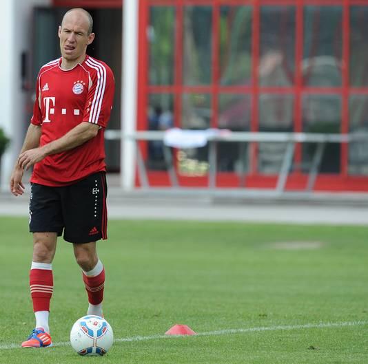 Bayern werkte vandaag nog een lichte training af, waar ook Arjen Robben aan meedeed.
