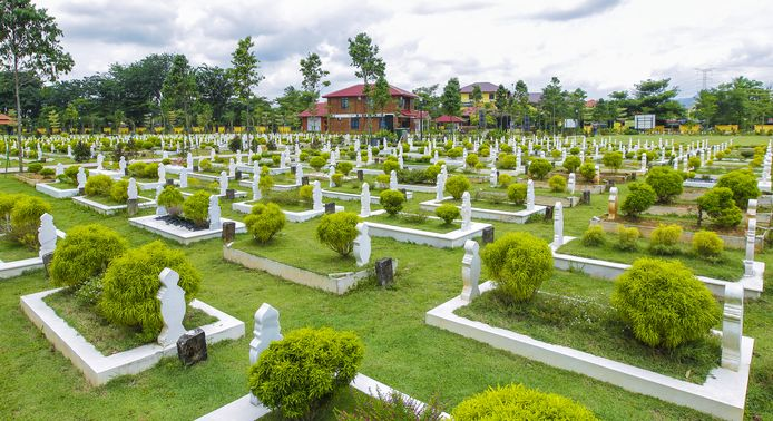 Een islamitische begraafplaats.