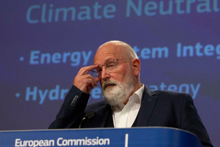 Frans Timmermans kreeg eerder al kritiek op zijn waterstofstrategie.  Beeld EPA