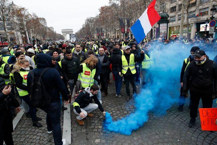 Zaterdag protesteerden naar schatting 50.000 gele hesjes in Parijs.