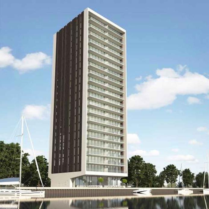 Ontwerp voor woontoren annex hotel Beurtvaartkade in Terneuzen. Volgens de gemeente kan het project tóch doorgaan, ondanks de stikstofproblematiek.