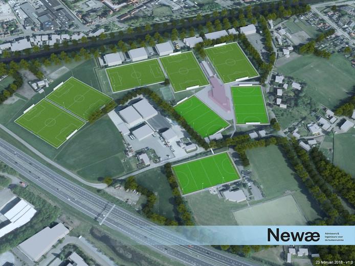 Beeld van een heringericht sportpark Moorland in Oirschot.