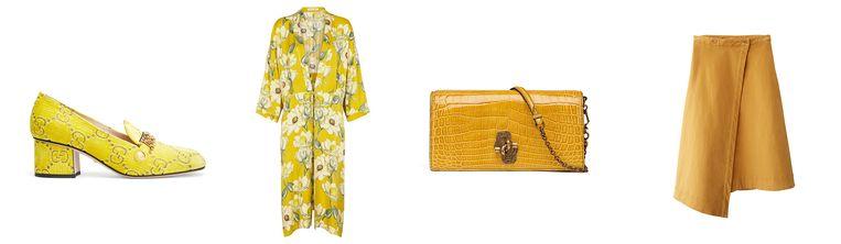 Van links naar rechts: mocassin met hak van Gucci € 690, gele kimono van Second Female € 135, kettingtasje van Bottega Vendeta € 1.290, asymmetrische rok van Acne Studios € 280. Beeld