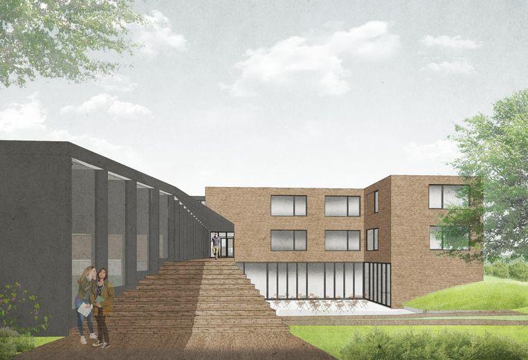 De nieuwbouw wordt opgetrokken op de campus in Bevegem, achter de bestaande gebouwen.