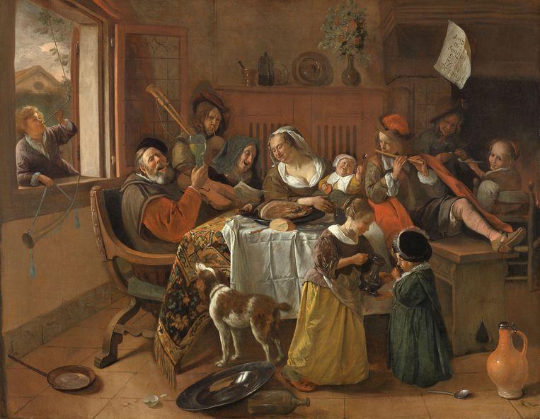 Een kind in soepjurk (rechts onderin) bij Jan Steen Beeld Rijksmuseum