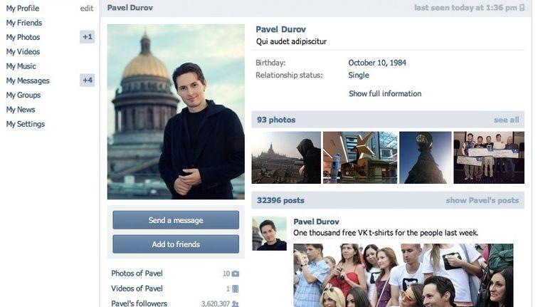 VK-profiel van Pavel Durov Beeld Screenshot VKontakte