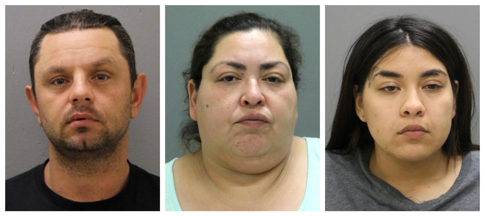 De drie aangehouden verdachten. Moeder Clarisa (46) en dochter Desiree Figueroa (24), en vriend Pioter Bobak (40).