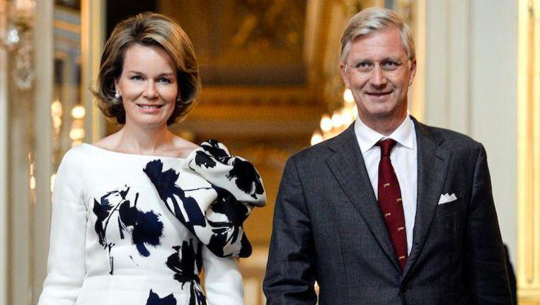 Koning Filip met zijn vrouw Mathilde, 'de x-factor van het koningshuis' Beeld AFP