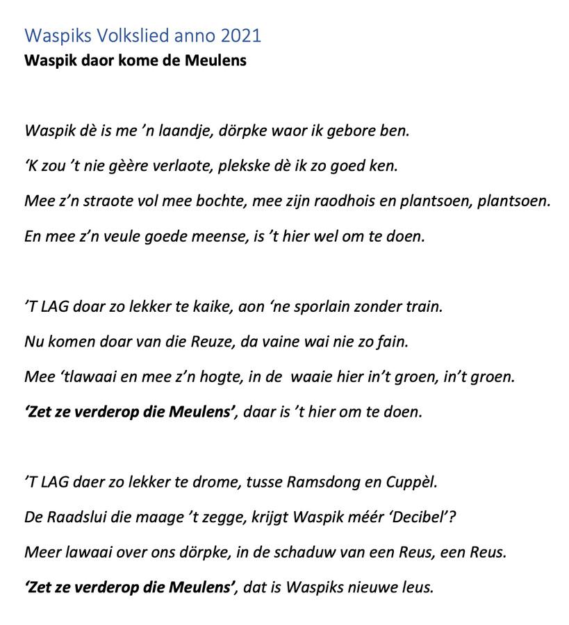 De tekst van het nieuwe Waspikse volkslied, geschreven als protest tegen de komst van hoge windmolens in de polder.
