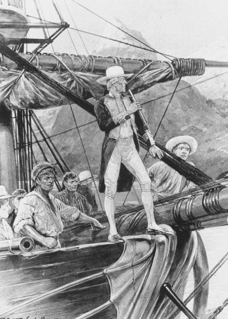 Illustratie van James Cook op zijn schip Endeavour (1728-1779). Beeld The LIFE Picture Collection via Getty