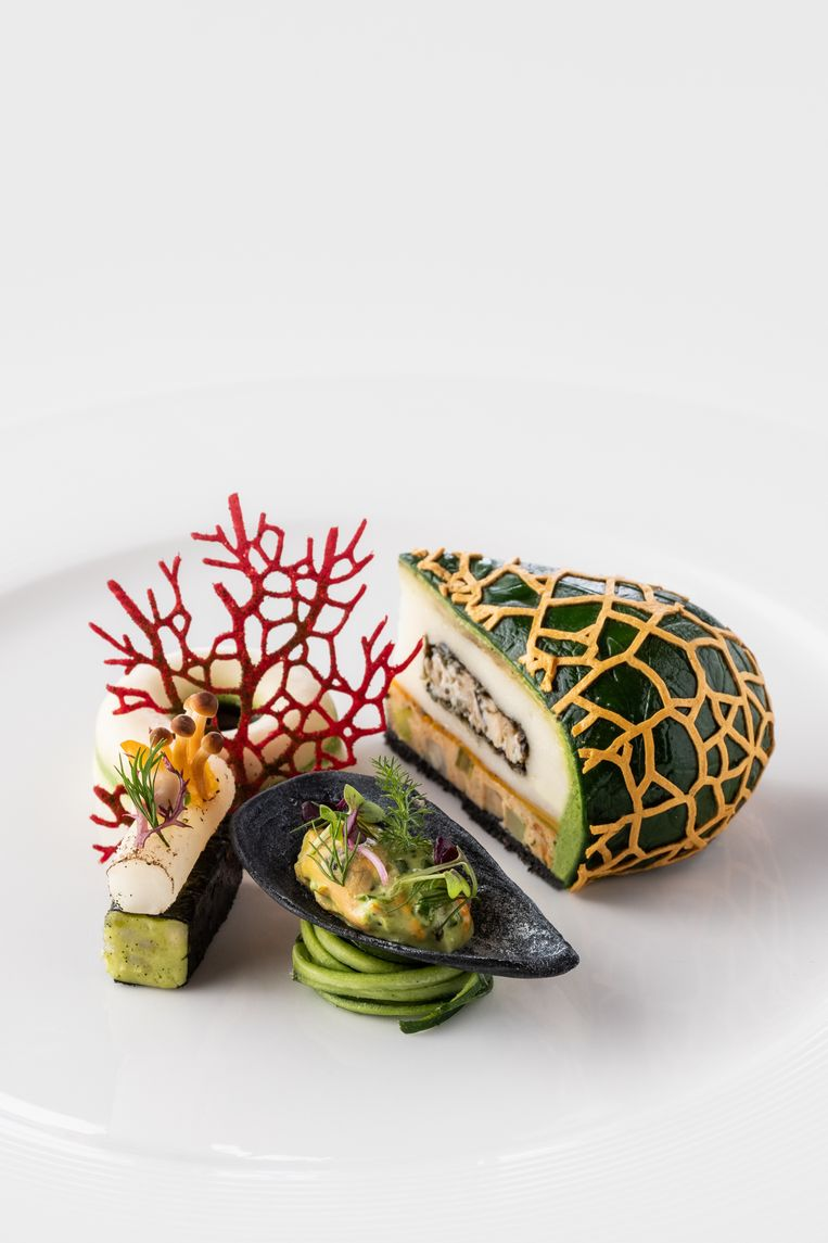 Het voorgerecht dat het Belgische team bereidde tijdens de finale van Bocuse d'Or: een chartreuse, een klassieke Franse groentetaart.
