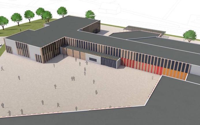 Met het aanbrengen van een nieuwe schil om de bestaande gevel moet het Rucphense Munnikenheide College meer uitstraling krijgen.