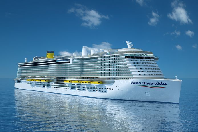 De Costa Smeralda is het eerste cruiseschip op gas dat in Rotterdam aankomt.