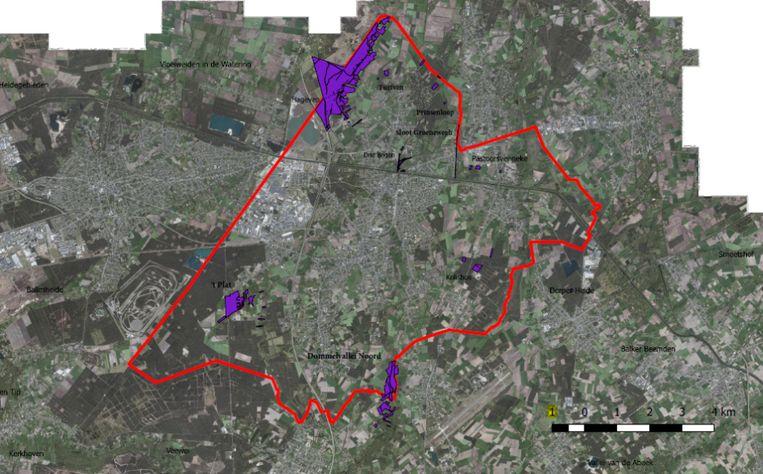 Alle natuurgebieden in Pelt die Natuurpunt Pelt zal beheren, met linksboven het Hageven (grootste paarse zone)