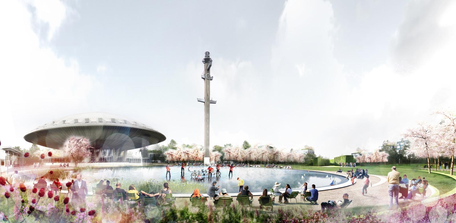 Een impressie van het park rond het Evoluon in Eindhoven zoals de nieuwe eigenaren Foolen & Reijs dat voor ogen hebben.