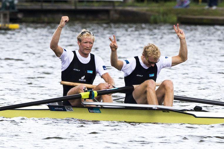 De Nieuw-Zeelandse roeiers Hamish Bond (rechts) en Eric Murray. Beeld anp