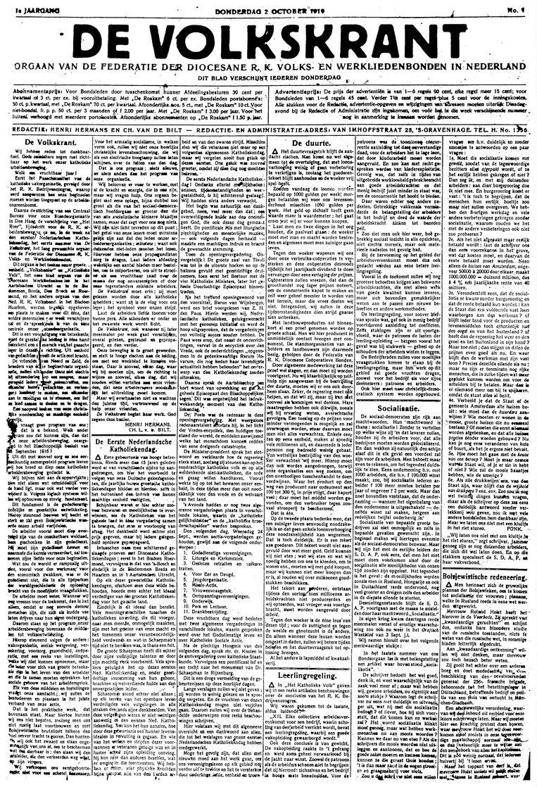 De allereerste Volkskrant in 1919.   Beeld