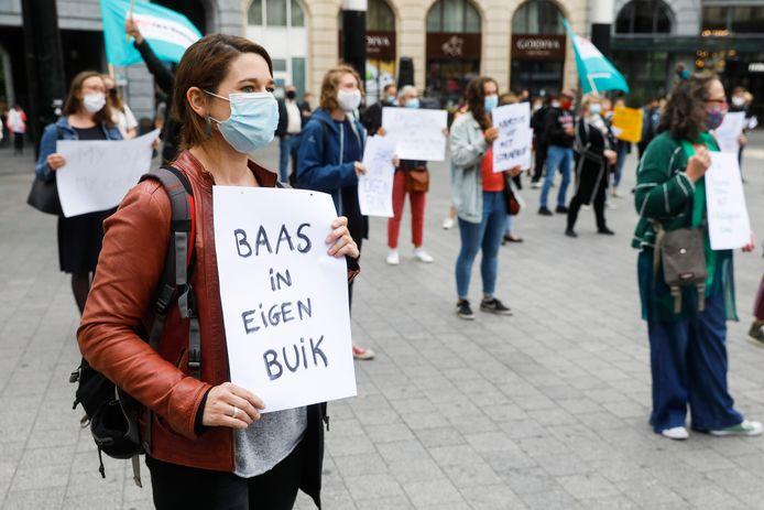 Protest tegen het uitstel van het wetsvoorstel in Brussel, 8 september 2020.
