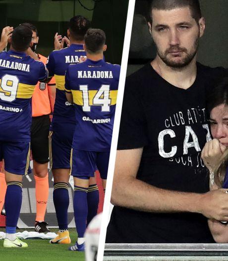 Les larmes de la fille de Maradona lors de l'hommage de Boca Juniors