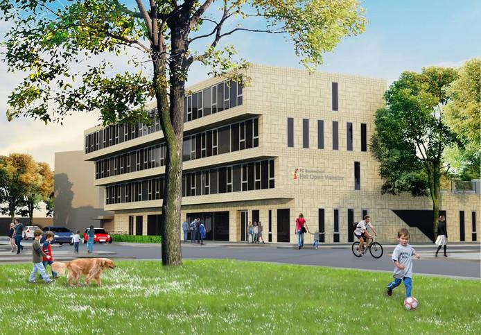 Een impressie van de houten nieuwbouw van Het Open Venster, die mislukt is. Het college wil nu een totaal nieuw ontwerp.
