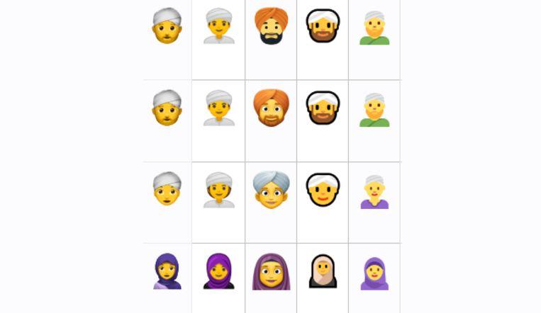 Emoji van mannen met tulband en een gesluierde vrouw bij Apple, Google, Facebook, Windows en Twitter.