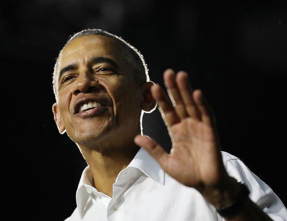 Barack Obama spreekt tijdens de rally in Miami.