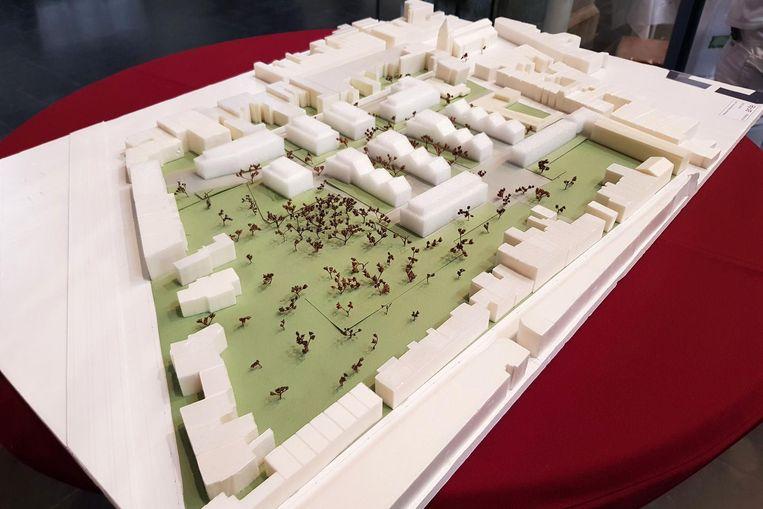 Een beeld van de maquette van project Kerkeveld op de oude ACV-site.