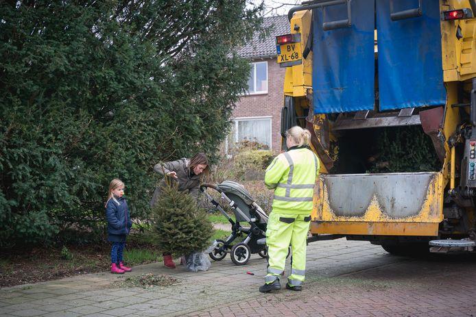Shayenne Voorn neemt een kerstboom aan bij het Meidoornplantsoen in Wageningen.