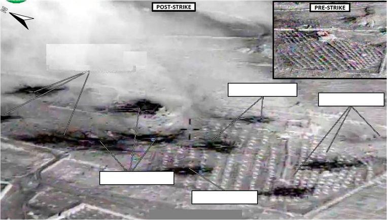 Beelden van het Amerikaans ministerie van Defensie waarop volgens het leger te zien is hoe voertuigen van IS verwoest zijn bij een luchtaanval Beeld Reuters