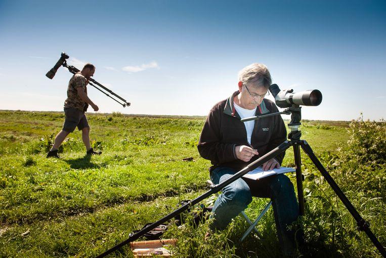 Erik van Ommen zit met zijn telescoop aan het Zuidlaardermeer. 'Kleurenpalet, boekje, penseel, stoeltje en een hoop geduld, dat is alles wat ik nodig heb.' Beeld reyer boxem