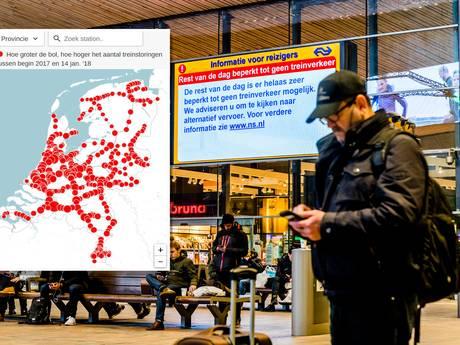 Alleen in Rotterdam meer treinstoringen dan in Breda