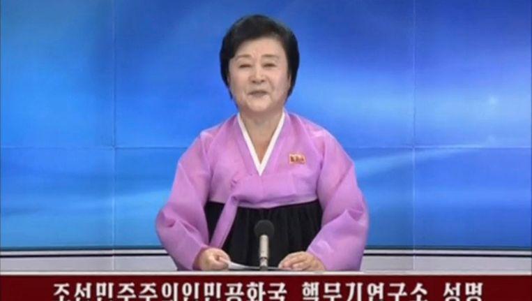 Noord-Korea bevestigt via de staatstelevisie dat het met succes en vijfde nucleaire test heeft uitgevoerd. Beeld reuters