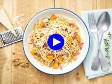 Power pasta ! Des spaghettis complets à la courge butternut, avec des noix et du lard, pour booster votre énergie