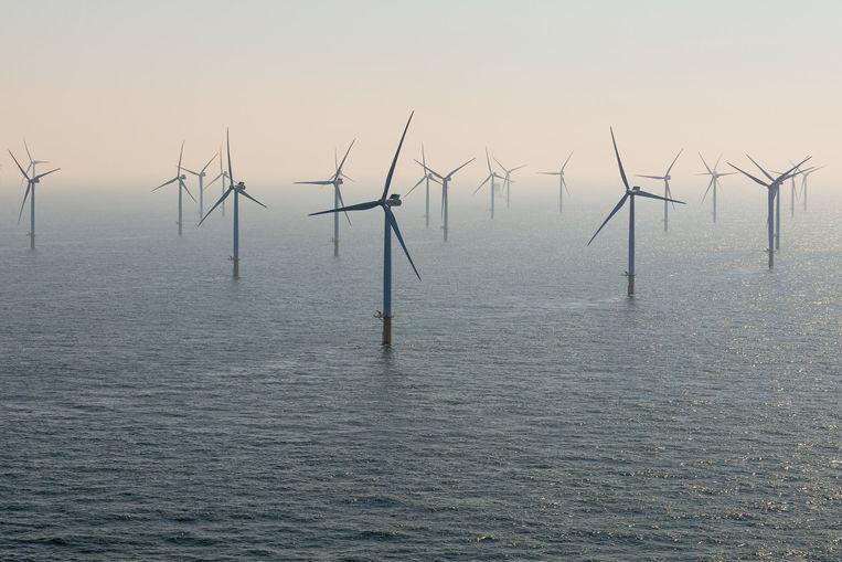 Illustratiebeeld, windpark op zee.