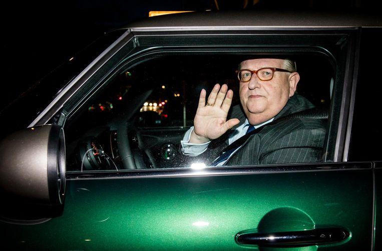 Henry Keizer verlaat VVD-partijkantoor in mei 2017. Beeld ANP