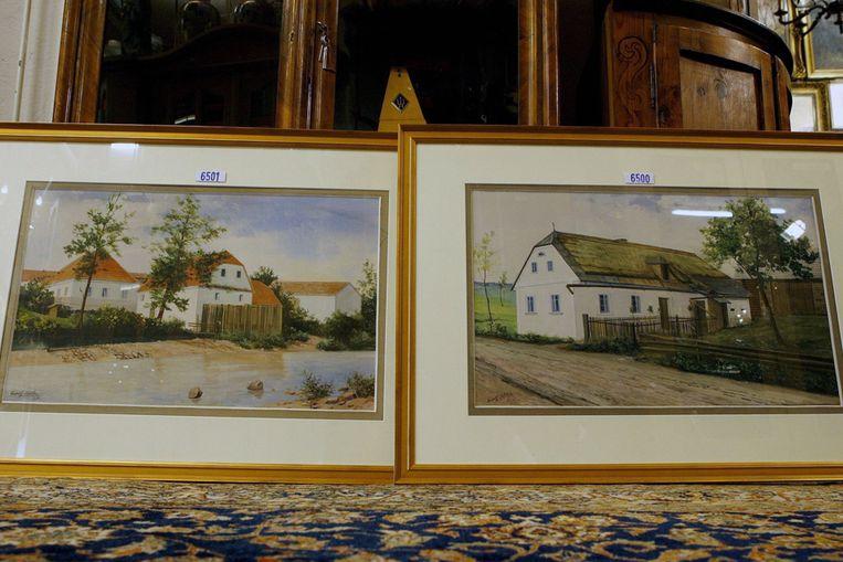 Op een omstreden veiling in het Duitse NÃ¿rnberg hebben twee aquarellen van de hand van Adolf Hitler zaterdag 32.000 euro opgebracht. (ANP) Beeld