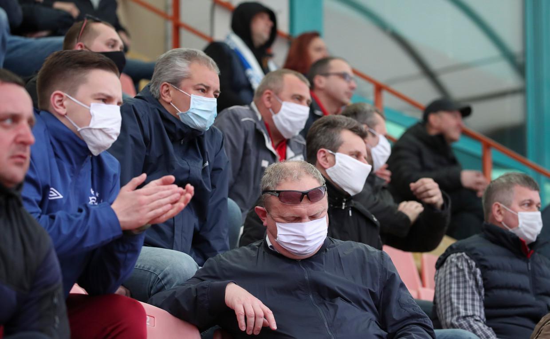 Mondkapjes bij een voetbalwedstrijd in Wit-Rusland op 25 april.