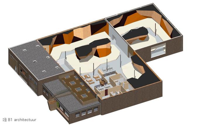 Impressie van de nieuwe Boulderhal Den Bosch. De hal komt op aan de Jagersheuvelstraat op industrieterrein Rietvelden.