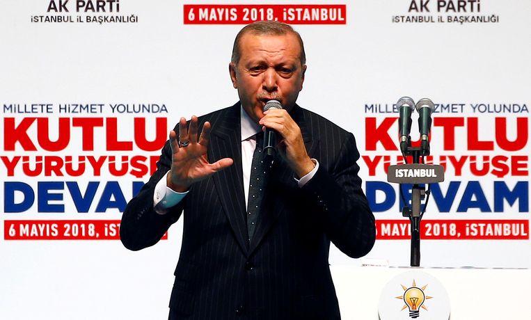 Erdogan aan het woord tijdens het congres van zijn partij AKP eerder vandaag.