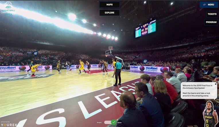 Een screenshot van de virtual tour van de champions league basketbal.
