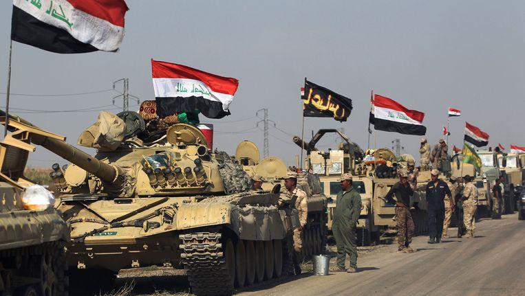 Iraakse troepen trekken op naar de olierijke stad Kirkuk. Beeld afp