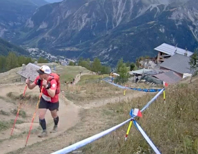 Peter Janssen in actie tijdens de Ultra-Trail du Mont-Blanc.