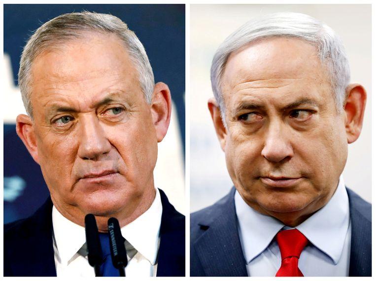 Benny Gantz (links), de leider van de partij Blauw en Wit, probeert met premier Benjamin Netanyahu (leider van de Likud partij) een nieuwe Israëlische regering te vormen.  Beeld REUTERS