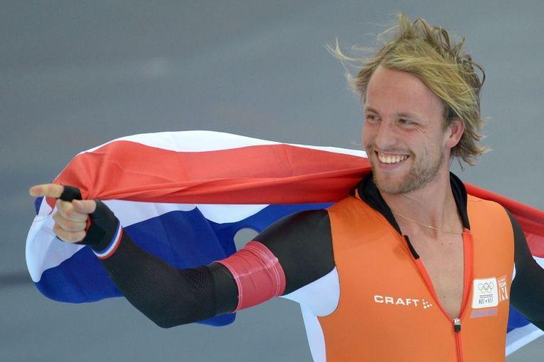 MIchel MUlder viert zijn olympisch goud op de 500 meter. Beeld afp
