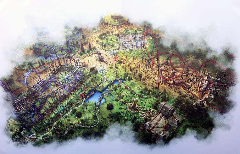 Land of Legends met rechts bovenaan de nieuwe attractie Fury en daarnaast de bestaande Typhoon en Sledge Hammer en het nieuwe Naiads Waters.