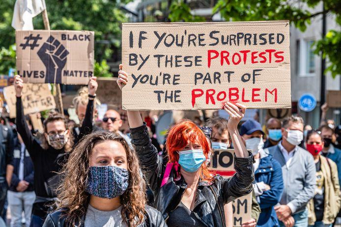 Demonstratie tegen racisme in Tilburg.