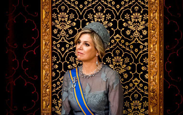 Koningin Maxima tijdens de troonrede. Beeld ANP