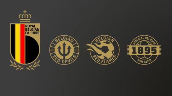 Het RBFA-logo, het logo van de Rode Duivels, het logo van de Red Flames en het logo van de 1895 Official Belgian Fan Club.
